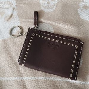 COACH Brown Leather Keychain Credit Card Wallet